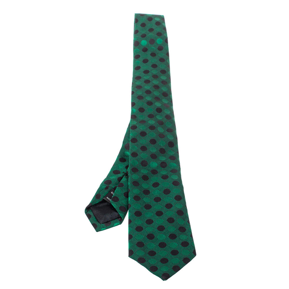 Gucci Green Dotted Silk Tie