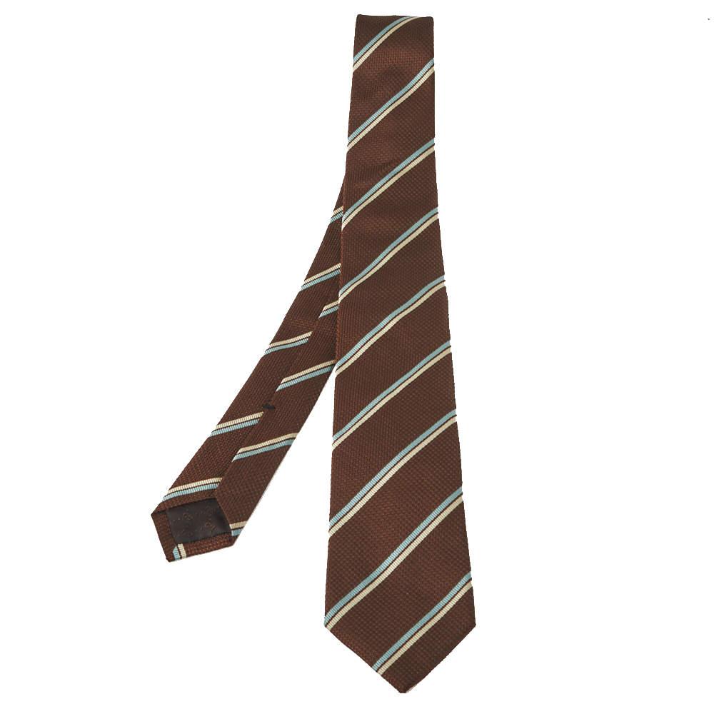 ربطة عنق غوتشي حرير و قطن مخطط وافل بني