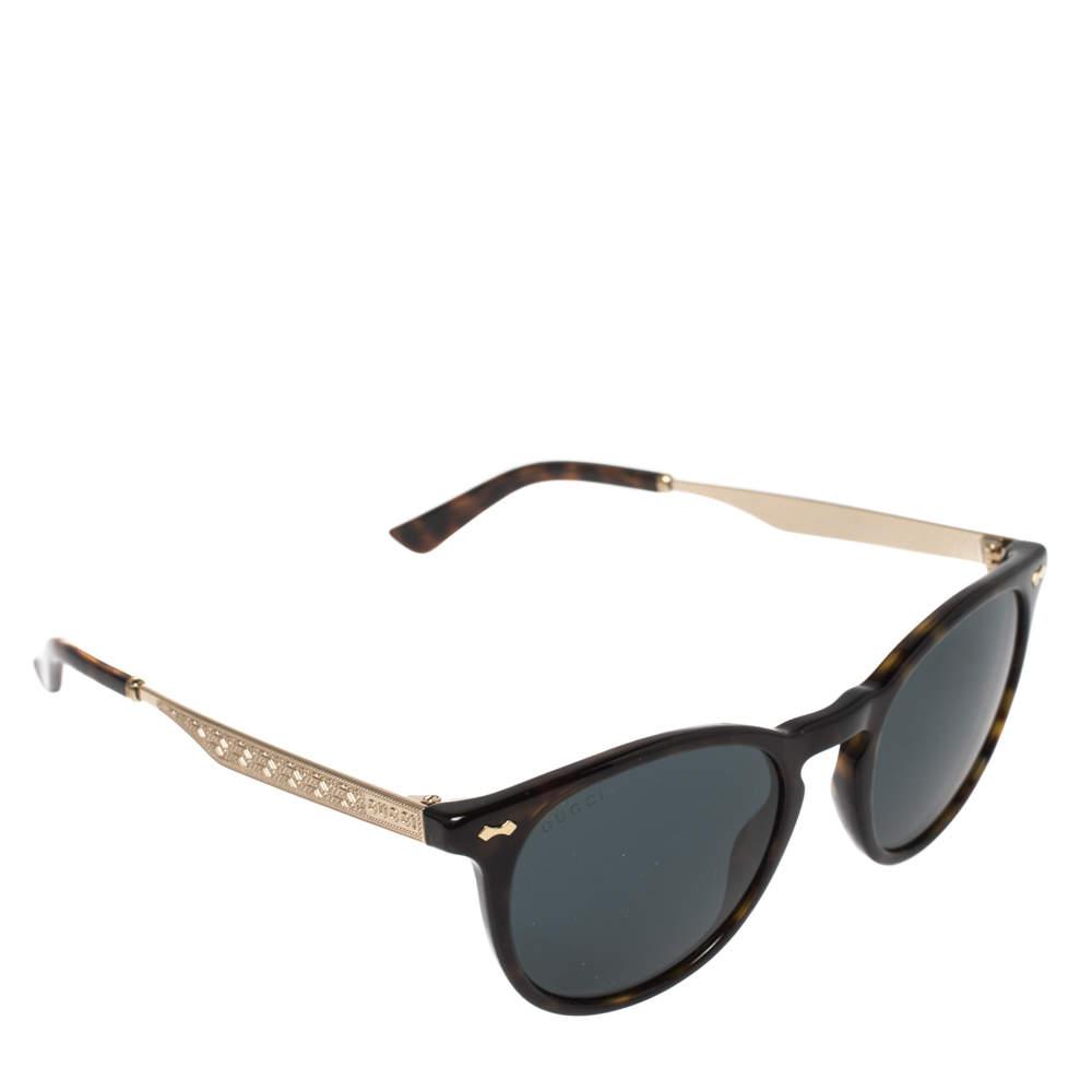Gucci Brown Havana/ Petrol Blue GG 1127/S Round Sunglasses