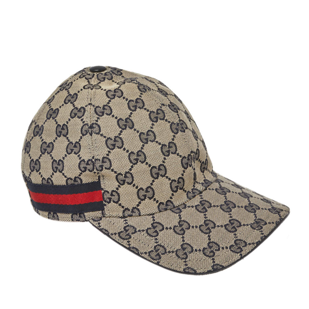 Gucci Beige & Navy Blue Guccissima Canvas Web Detail Baseball Cap S