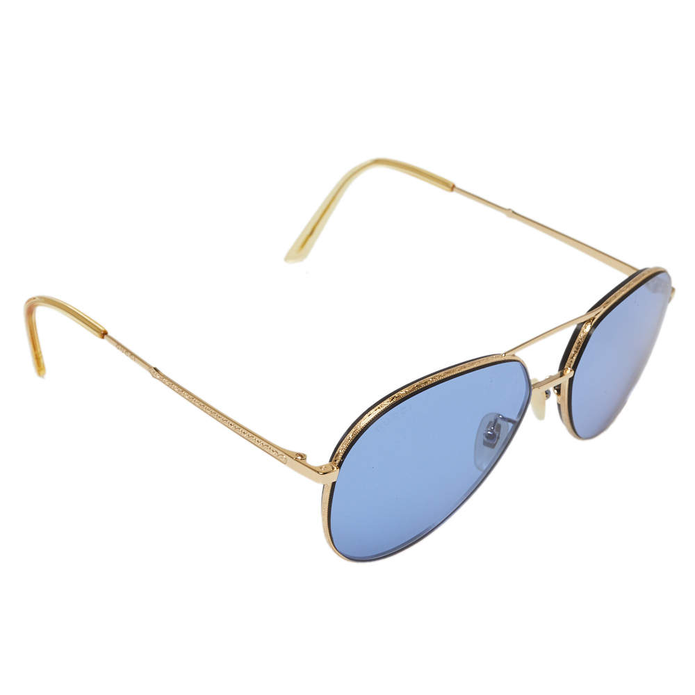 Gucci Gold Tone/ Blue GG0356S Aviator Sunglasses