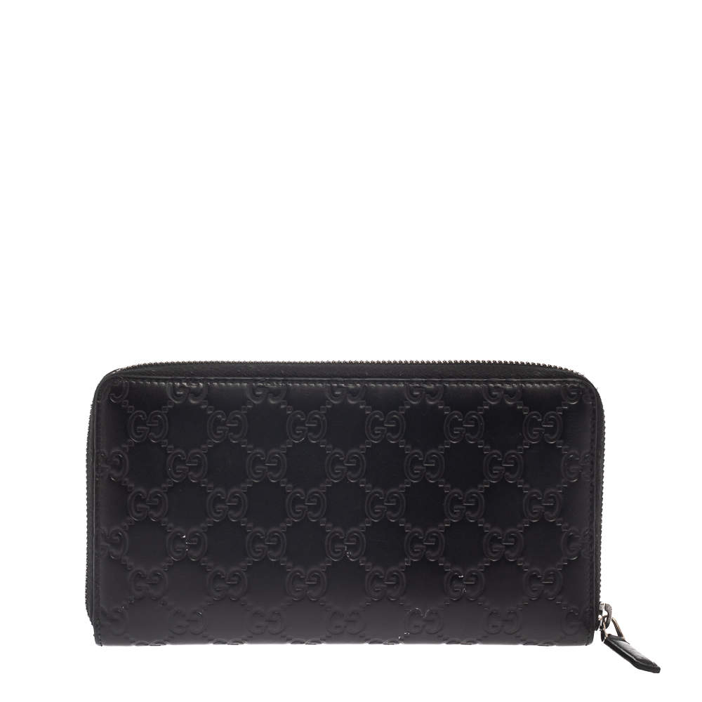Gucci Black Guccissima Leather Zip Around Wallet