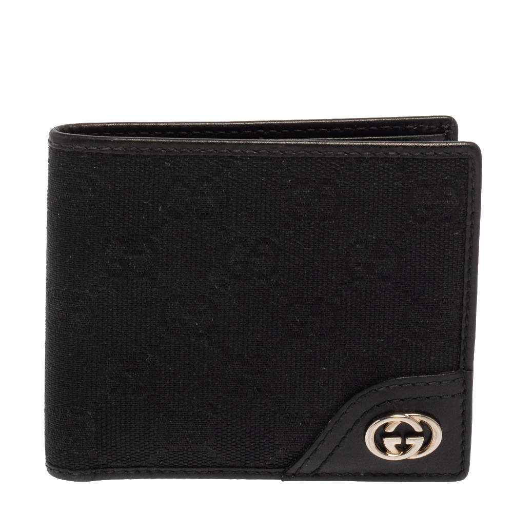 Gucci Black GG Canvas and Leather GG Interlocking Bifold wallet