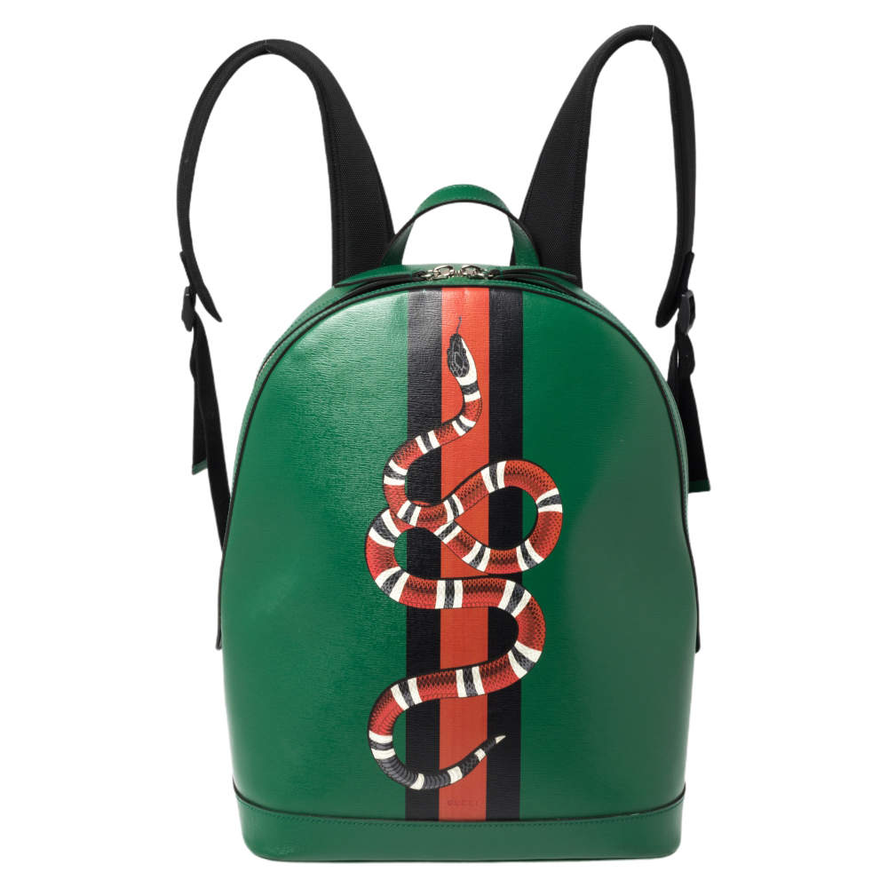 Gucci Green Snake and Web Print Leather Backpack