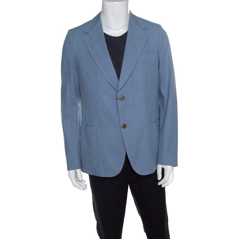 Gucci Sky Blue Cotton Tailored Mayfair Blazer XXL