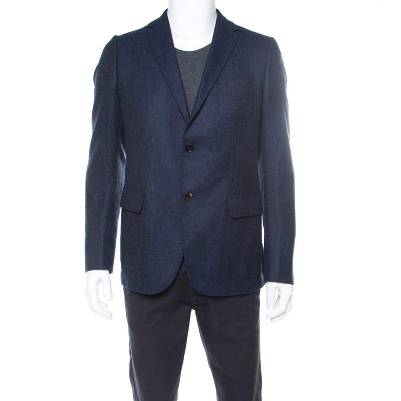 Gucci Nautical Blue Cashmere Patch Pocket Detail Tailored Blazer L