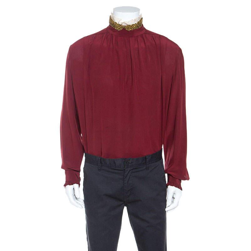 Gucci Burgundy Silk  Embellished Collar Ruffle Trim Shirt XL
