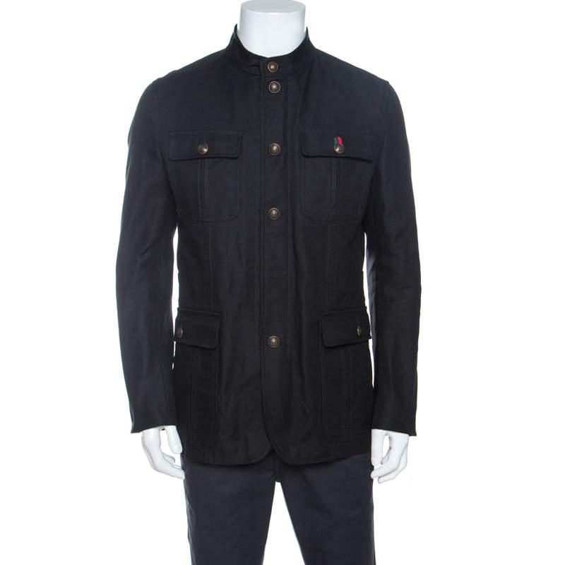 Gucci Black Cotton Twill Button Front Coat M