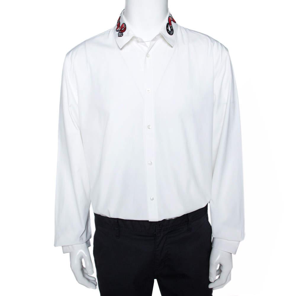Gucci White Cotton Snake Embroidered Collar Duke Shirt 4XL