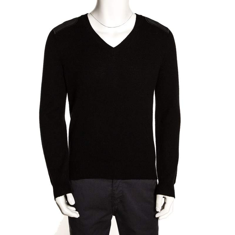 Gucci Black Cashmere Wool Leather Patch Detail V Neck Sweater M