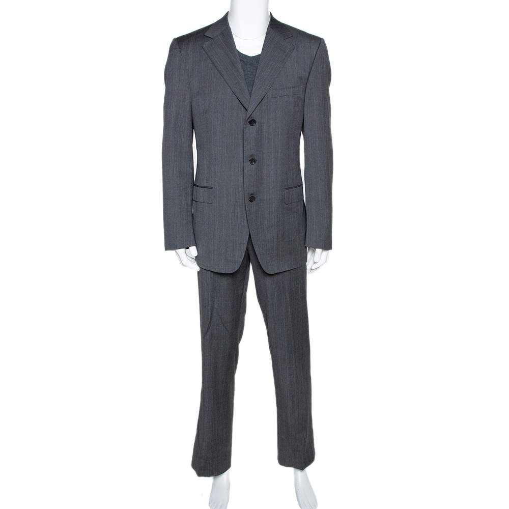 Gucci Grey Pin Striped Wool Tailored Suit XXL