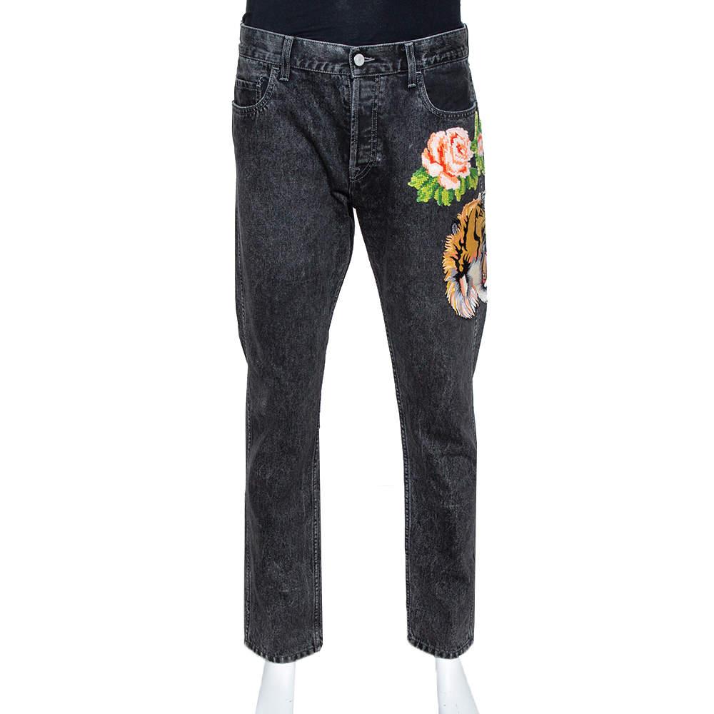 Gucci Charcoal Grey Denim Tiger & Floral Applique Tapered Jeans XL