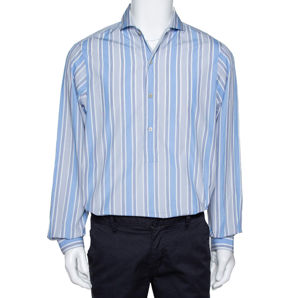 Gucci Blue Striped Cotton Oversized Half Placket Shirt S