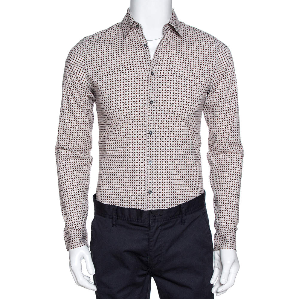 Gucci Cream Printed Cotton Long Sleeve Slim Fit Shirt S