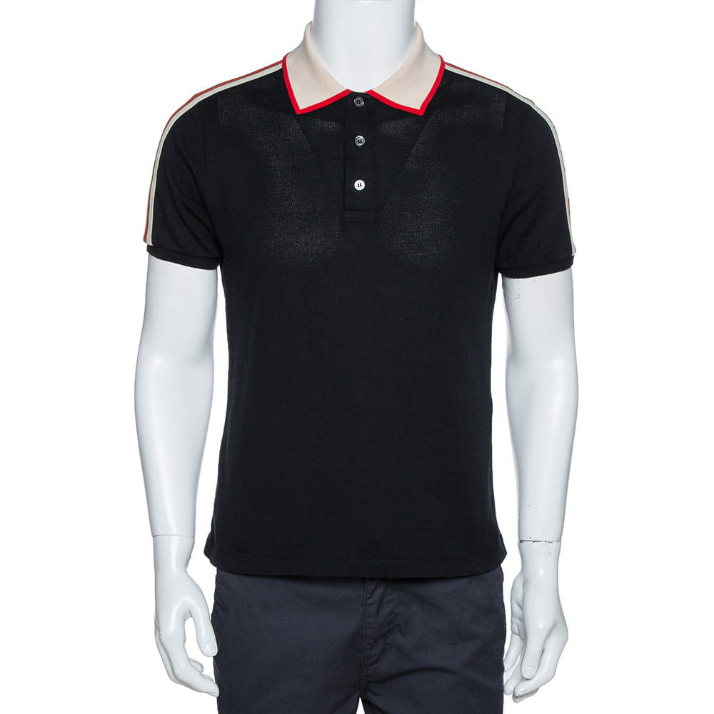 Gucci Black Cotton Pique Webstripe Logo Detail Polo T Shirt M