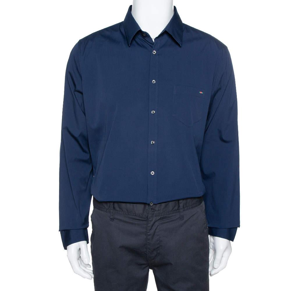 Gucci Navy Blue Stretch Cotton Skinny Fit Shirt XXXL