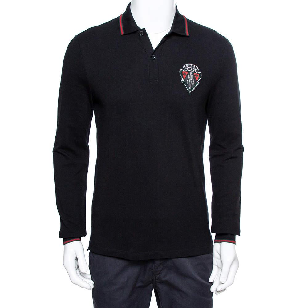 Gucci Equestrian Black Cotton Pique Long Sleeve Polo T-Shirt M