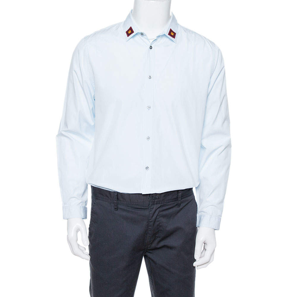 Gucci Light Blue Cotton Bee Appliqued Collar Slim Fit Shirt XL