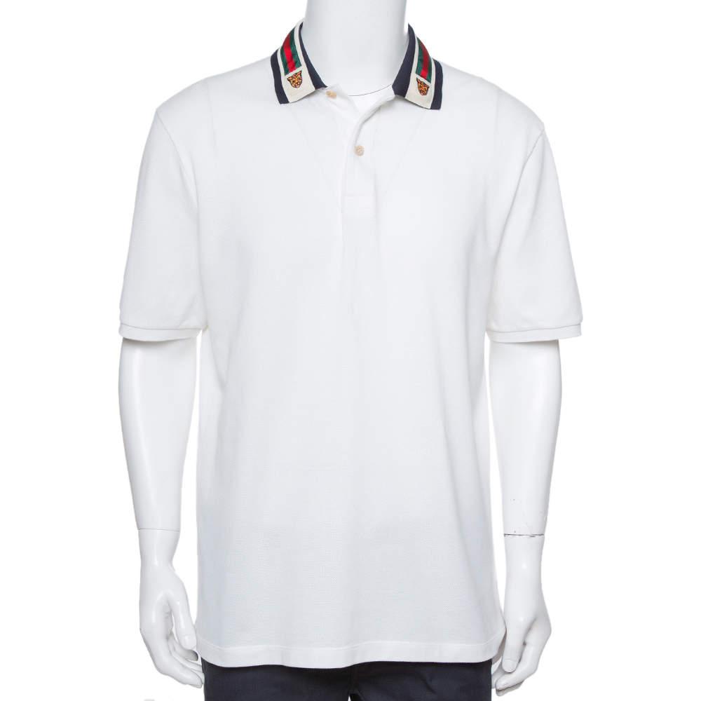 Gucci White Cotton Pique Tiger Web Collar Polo T-Shirt XXL