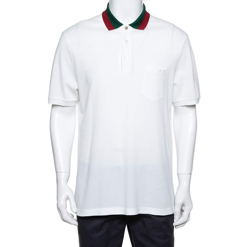 Gucci White Cotton Pique Contrast Collar Detail Polo T-Shirt XXL