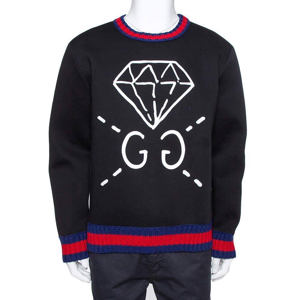 Gucci Black Neoprene Ghost Diamond Print Sweatshirt XL