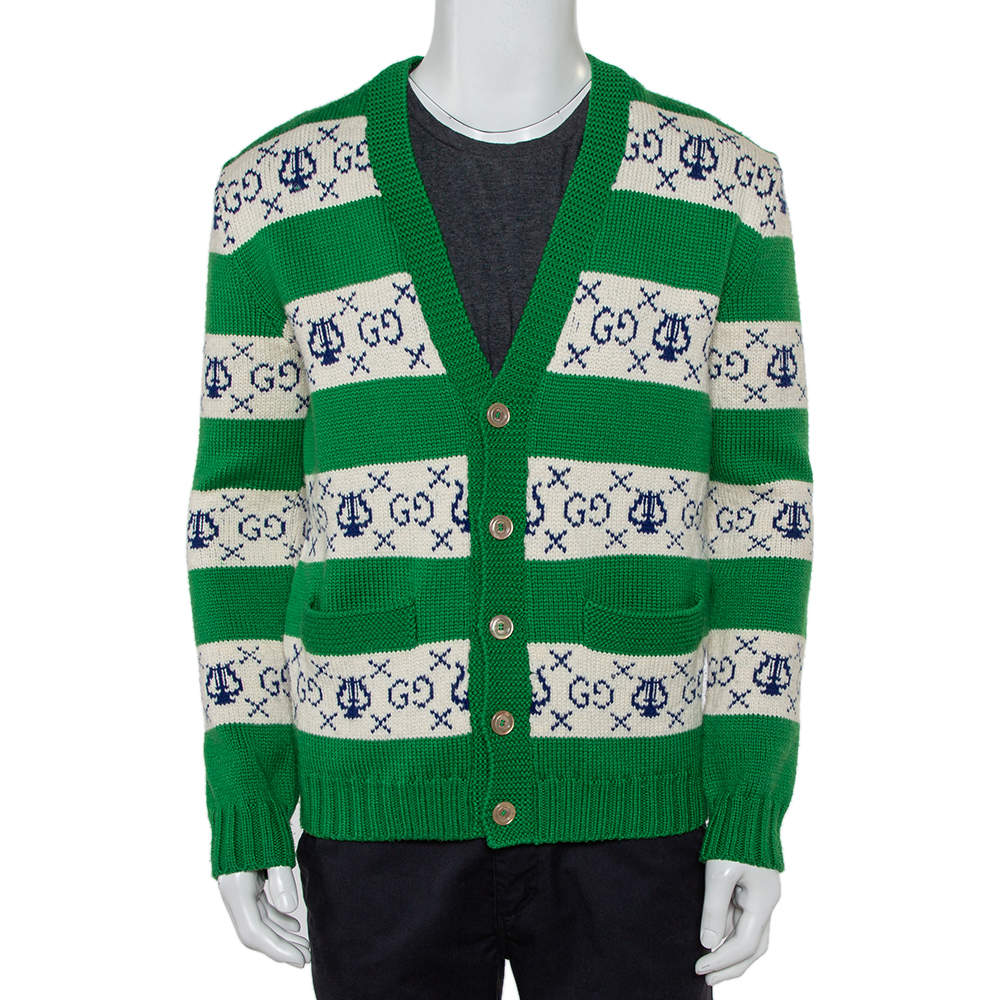 Gucci Green & White Lyre Striped Wool Button Front Cardigan S