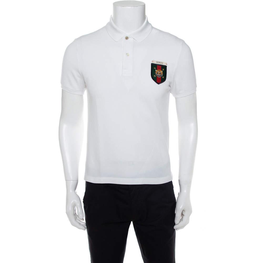 Gucci White Cotton Pique Crest Applique Detail Polo T-Shirt S