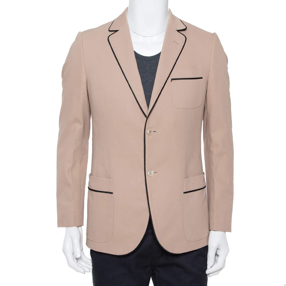 Gucci Salmon Pink Cotton Contrast Trim Detail Button Front Jacket L