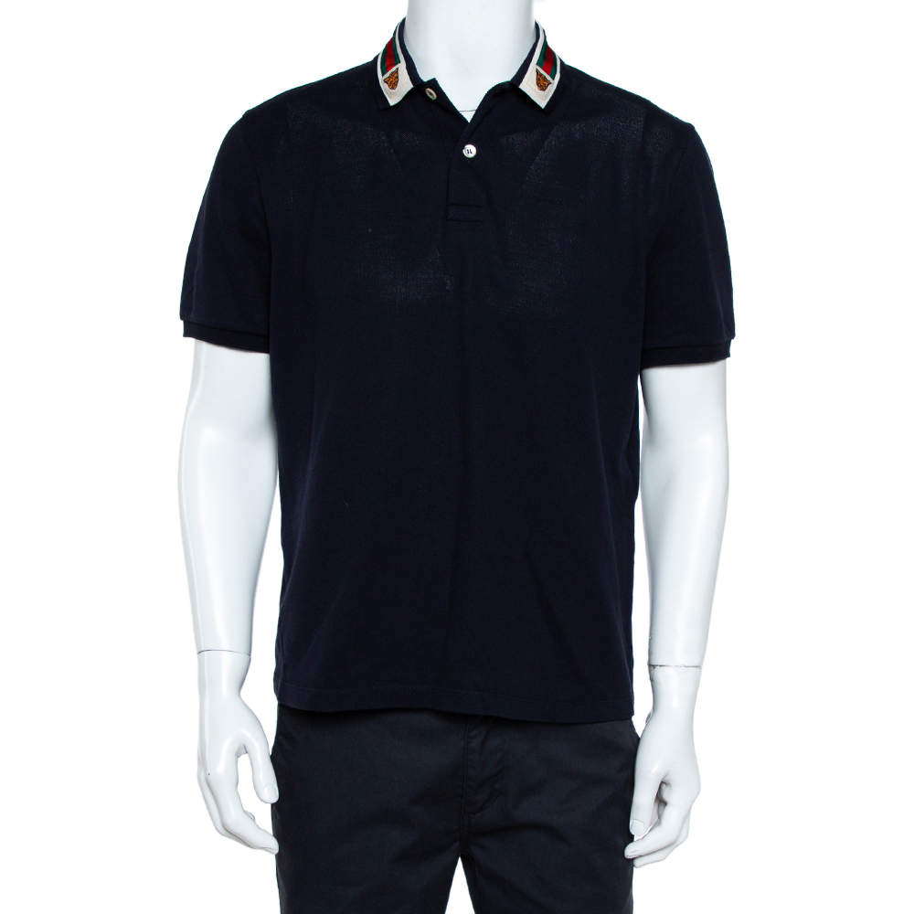 Gucci Navy Blue Cotton Pique Web Trim & Feline Head Collar Detail Polo T-Shirt L