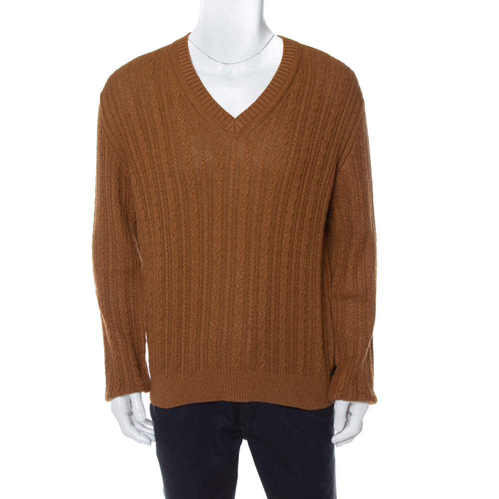 Gucci Brown Wool V-Neck Sweater L