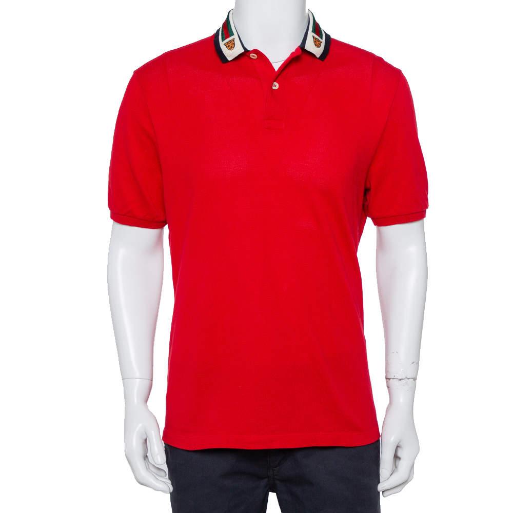 Gucci Red Cotton Pique Web & Feline Head Detail Polo T-Shirt XL