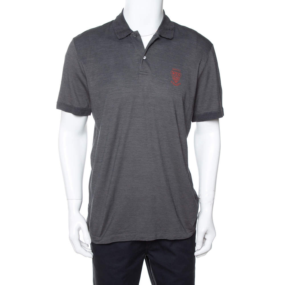 Gucci Dark Grey Cotton & Silk Pique Knit Polo T-Shirt XXL
