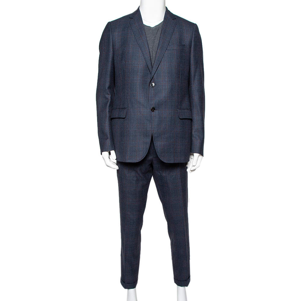 Gucci Navy Blue Checkered Wool Suit XXL