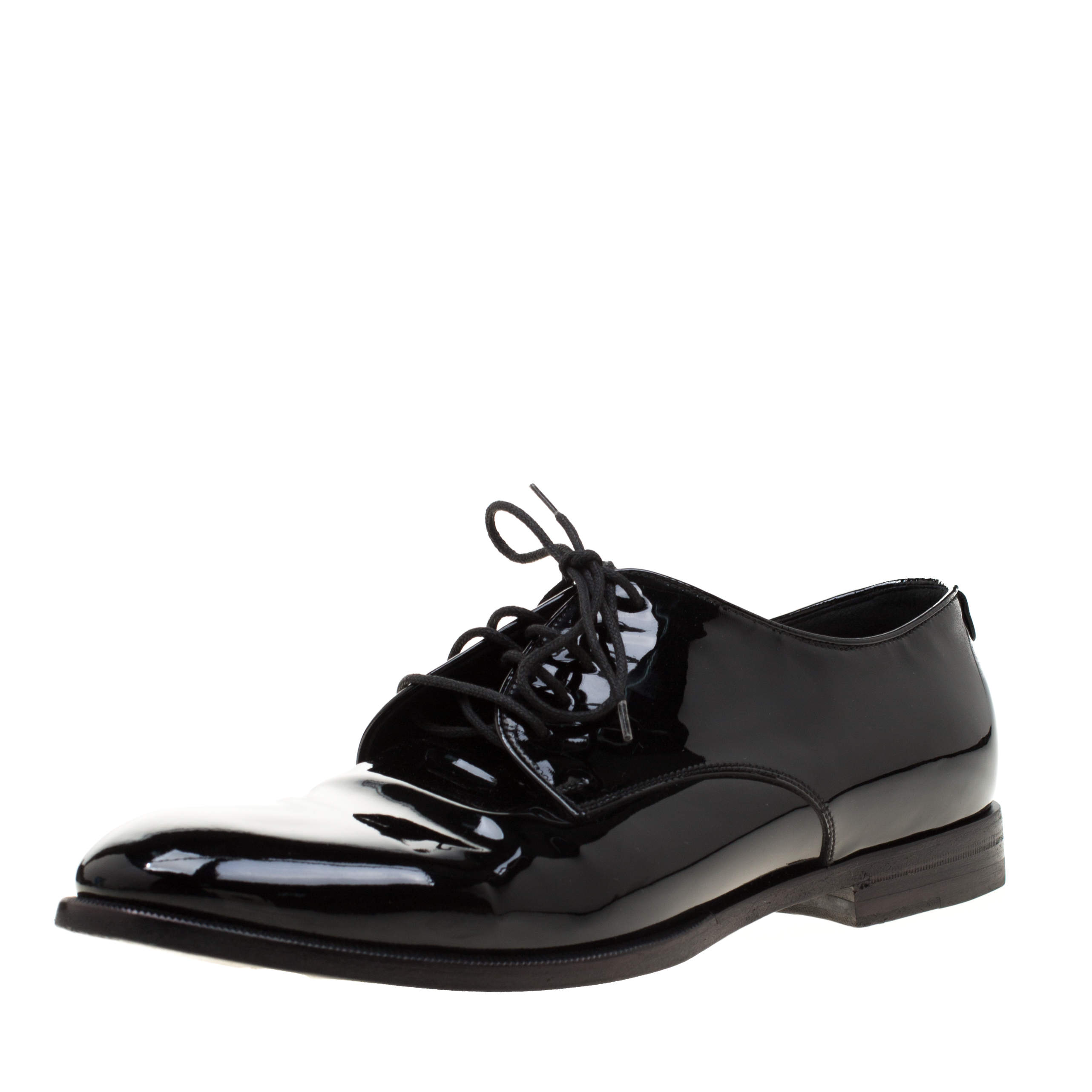 Gucci Black Patent Leather Lace Up Derby Size 41.5