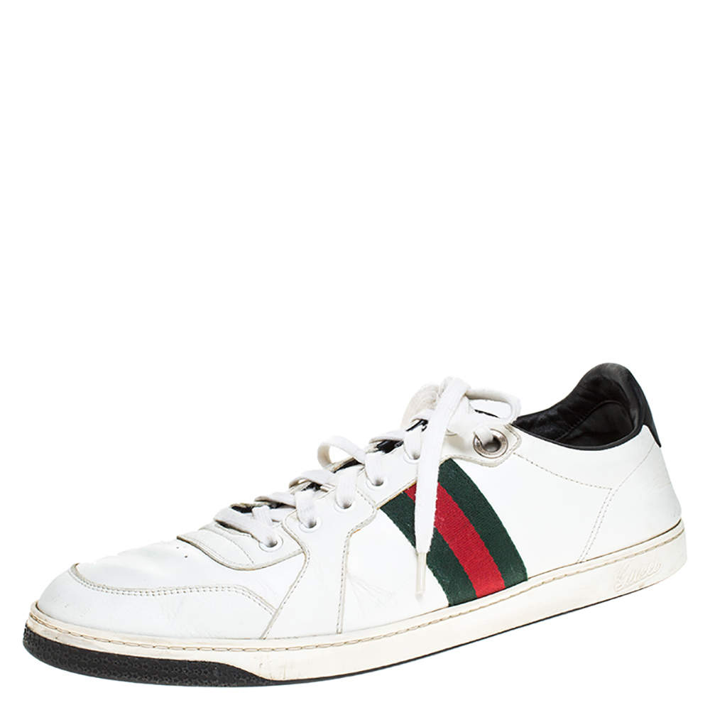 Gucci White Leather And Black Patent