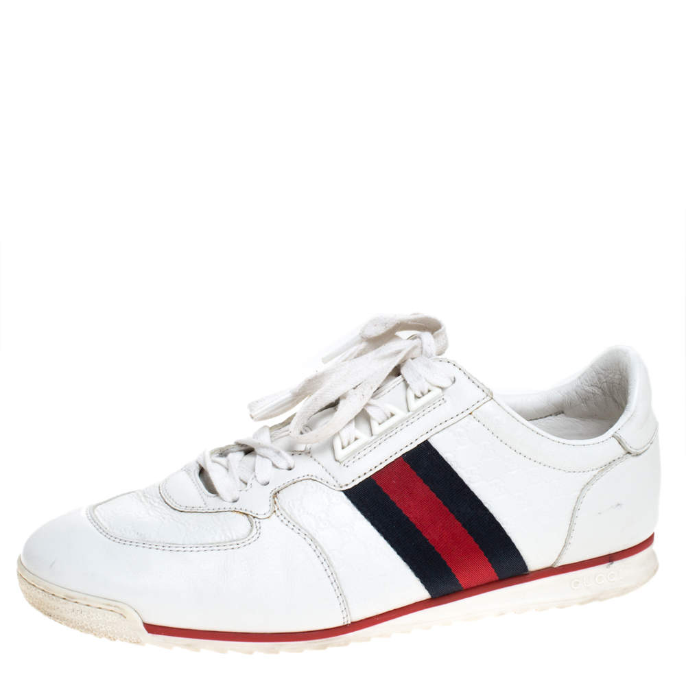 حذاء رياضي غوتشي كودا منخفض من أعلى GG ويب و جلد أبيض مقاس 41.5