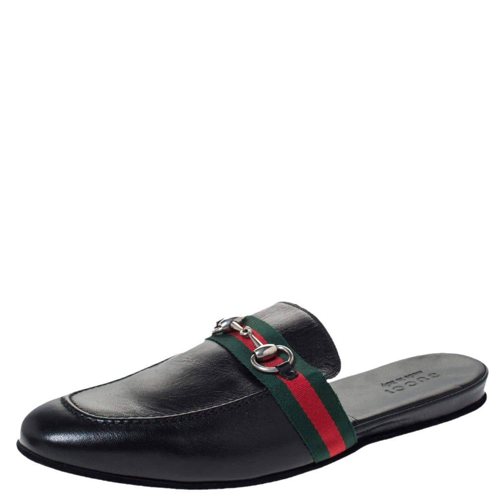 Gucci Black Leather Horsebit Web Flat Slide Size 42