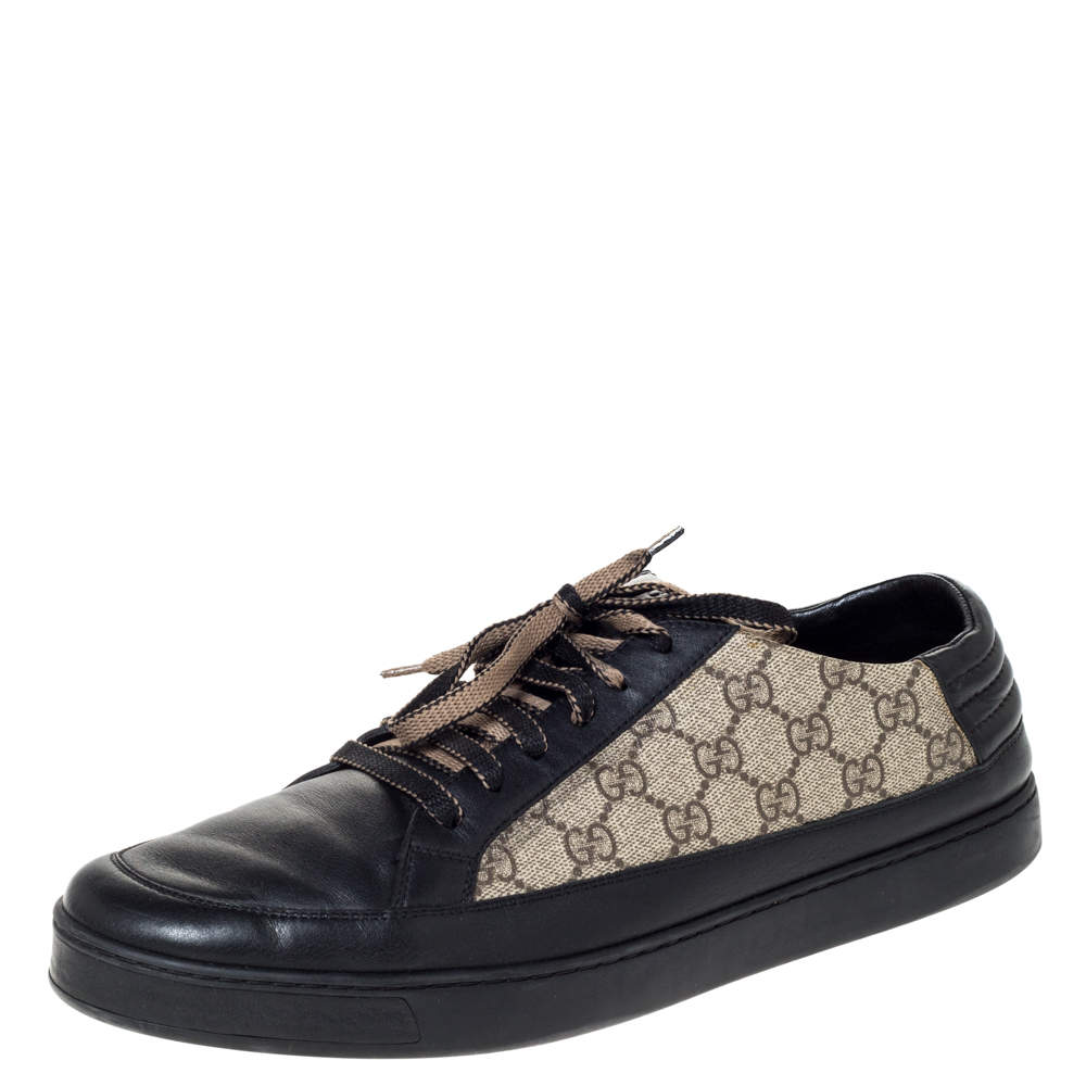 Gucci Beige/Black GG Supreme Canvas And Leather Sneakers Size 46