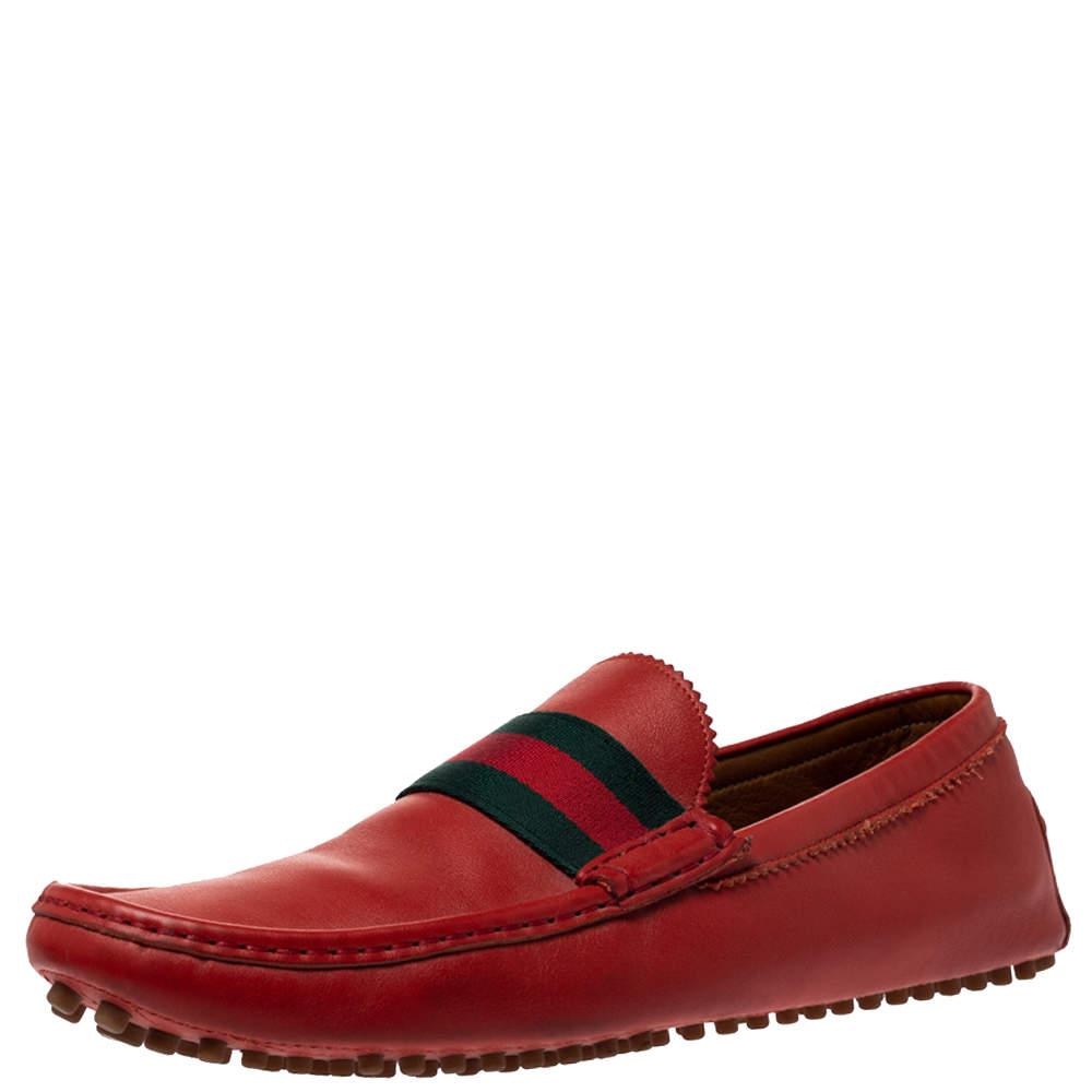 Gucci Brick Red Leather Web Detail Loafers Size 45
