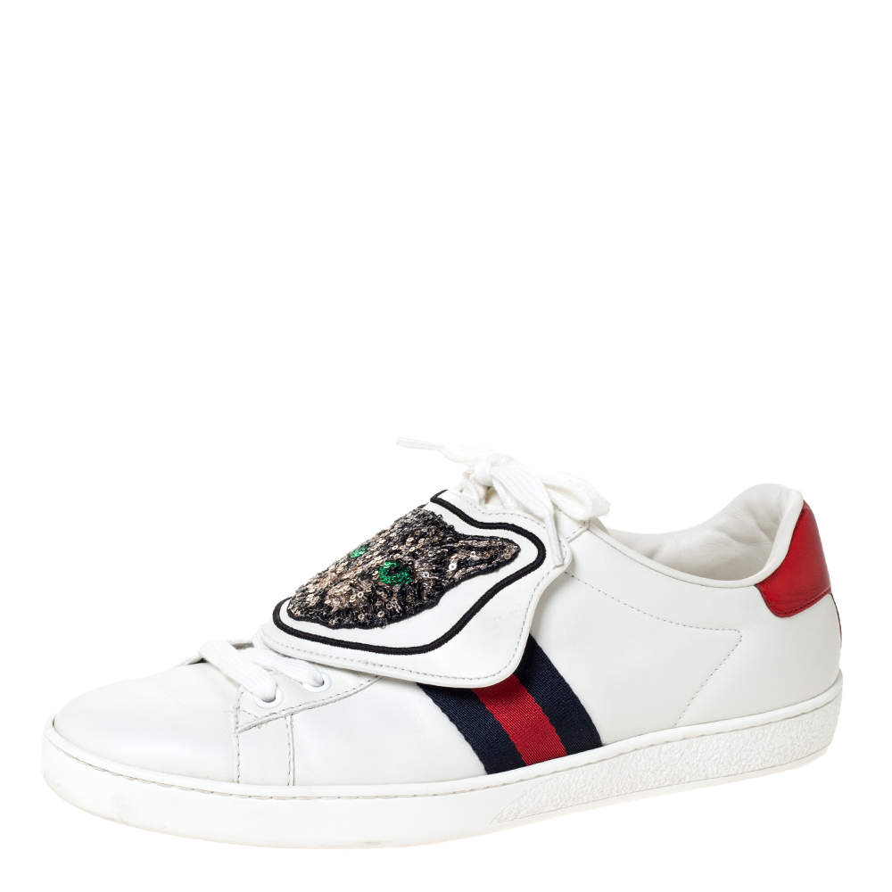 Gucci White Leather Ace Web Low Top Sneakers with Removable Patch Size 41