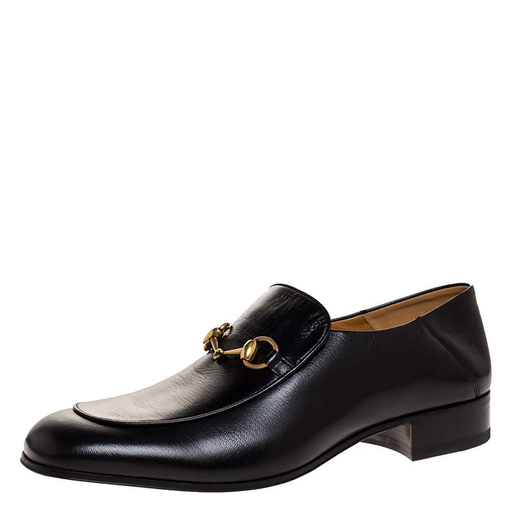 Gucci Black Leather Jordaan Horsebit Slip On Loafers Size 44.5
