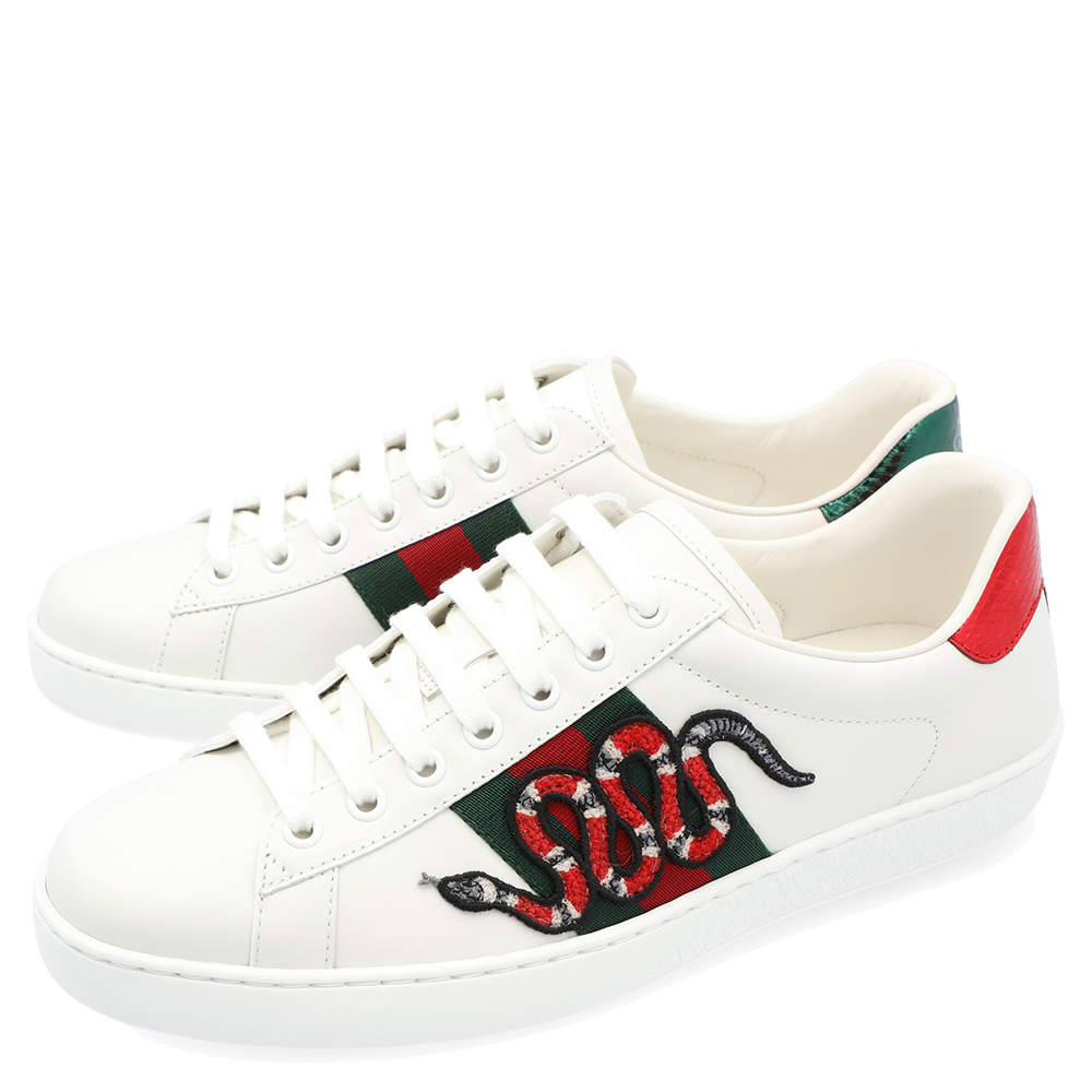 Gucci White Leather Ace Snake Sneakers