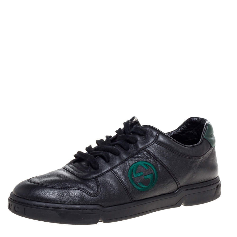 Gucci Black Leather Interlocking G Logo Low Top Sneakers Size 42