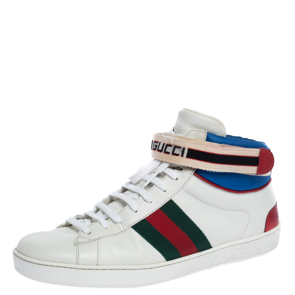 Gucci White Leather Ace High Top Sneakers Size 43