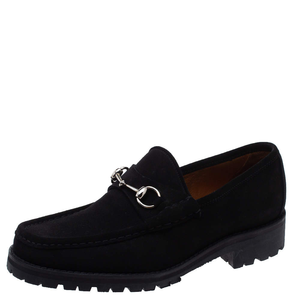 Gucci Black Suede 1953 Horsebit Loafers Size 43.5