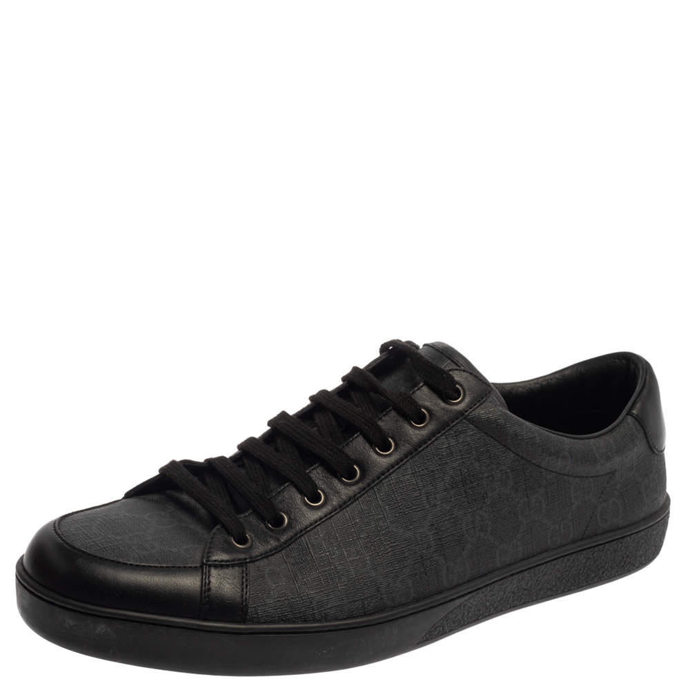 Gucci Black GG Supreme Canvas and Leather Brooklyn Low Top Sneakers Size 46