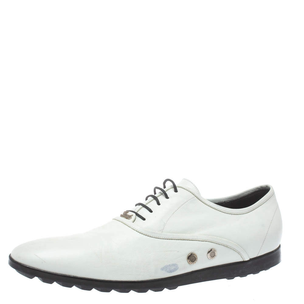 Gucci White Leather Lace Up Oxfords Size 44.5
