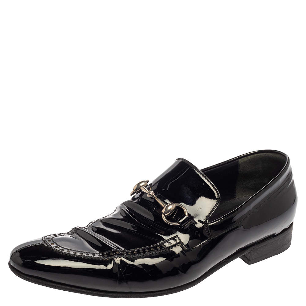 Gucci Black Patent Leather Horsebit Slip On Loafers Size 42