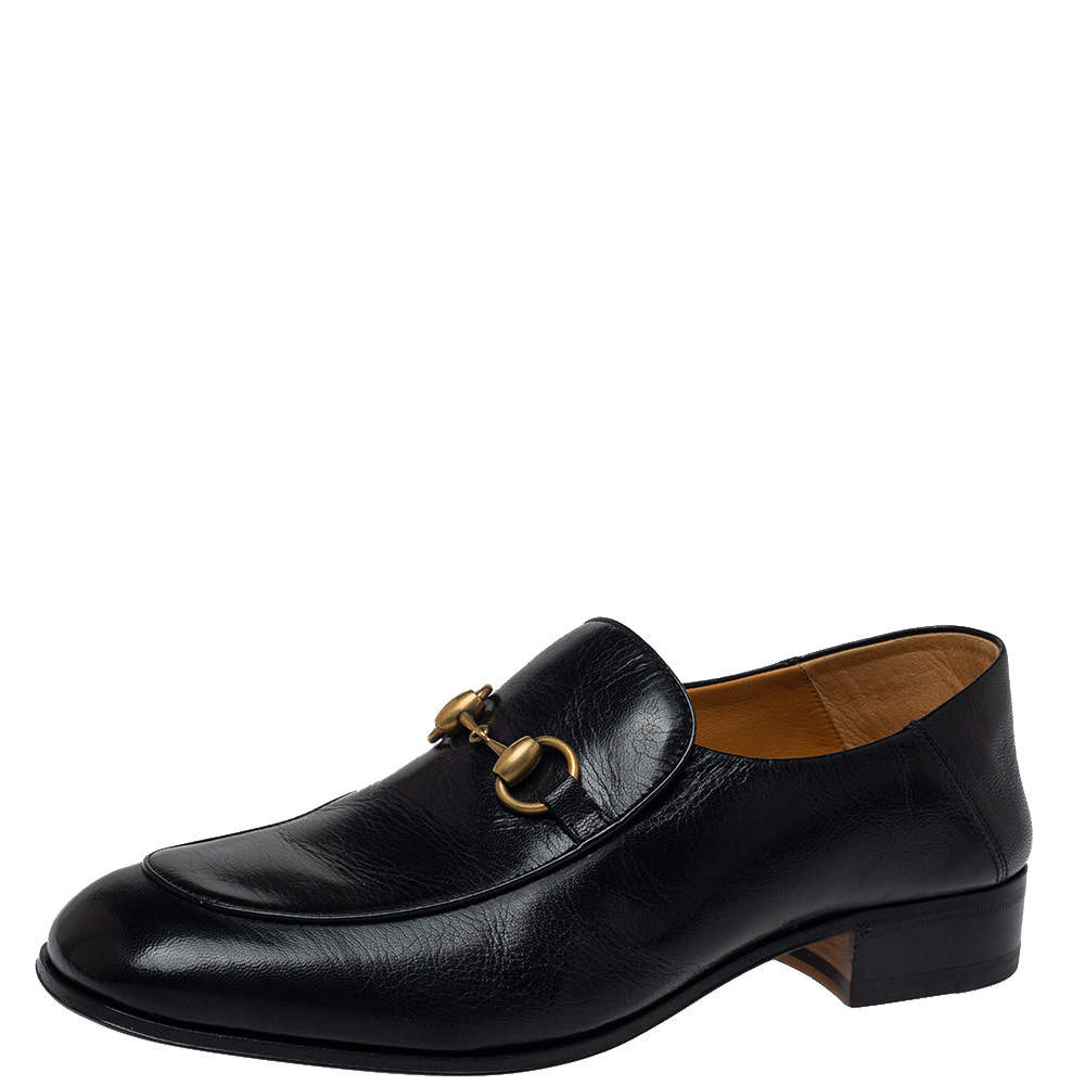 Gucci Black Leather Horsebit Quentin Slip On Loafers Size 41.5