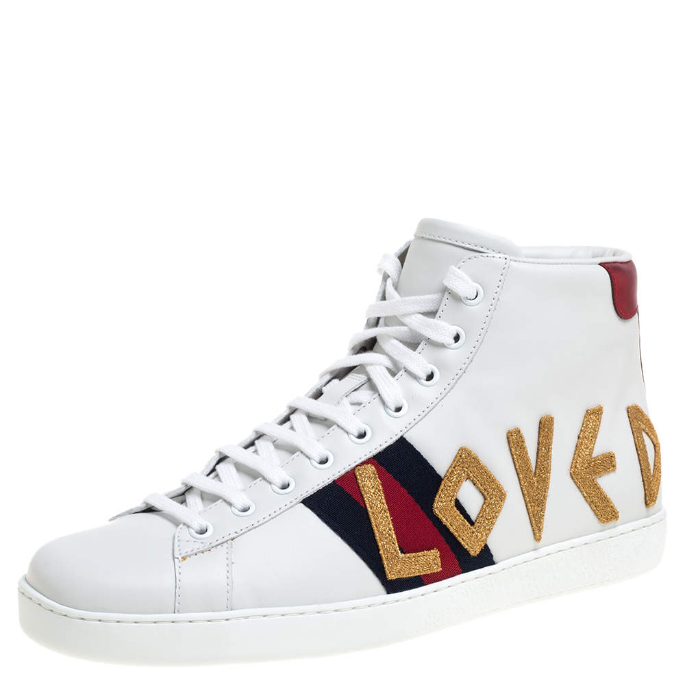 Gucci White Leather Loved New Ace High Top Sneakers Size 43